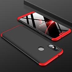 Handyhülle Hülle Kunststoff Schutzhülle Tasche Matt Vorder und Rückseite 360 Grad für Xiaomi Redmi 6 Pro Rot und Schwarz