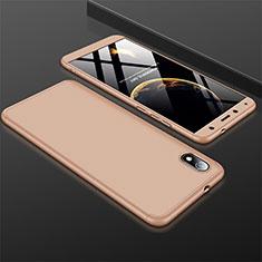 Handyhülle Hülle Kunststoff Schutzhülle Tasche Matt Vorder und Rückseite 360 Grad für Xiaomi Redmi 7A Gold
