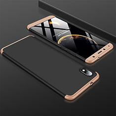 Handyhülle Hülle Kunststoff Schutzhülle Tasche Matt Vorder und Rückseite 360 Grad für Xiaomi Redmi 7A Gold und Schwarz