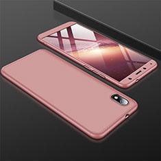 Handyhülle Hülle Kunststoff Schutzhülle Tasche Matt Vorder und Rückseite 360 Grad für Xiaomi Redmi 7A Rosegold