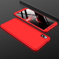 Handyhülle Hülle Kunststoff Schutzhülle Tasche Matt Vorder und Rückseite 360 Grad für Xiaomi Redmi 7A Rot