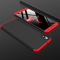 Handyhülle Hülle Kunststoff Schutzhülle Tasche Matt Vorder und Rückseite 360 Grad für Xiaomi Redmi 7A Rot und Schwarz