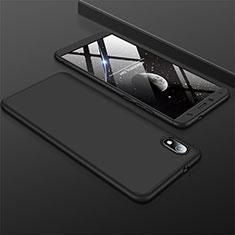 Handyhülle Hülle Kunststoff Schutzhülle Tasche Matt Vorder und Rückseite 360 Grad für Xiaomi Redmi 7A Schwarz