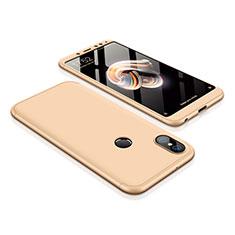 Handyhülle Hülle Kunststoff Schutzhülle Tasche Matt Vorder und Rückseite 360 Grad für Xiaomi Redmi Note 5 AI Dual Camera Gold