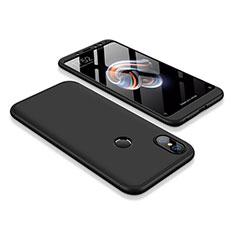 Handyhülle Hülle Kunststoff Schutzhülle Tasche Matt Vorder und Rückseite 360 Grad für Xiaomi Redmi Note 5 Pro Schwarz