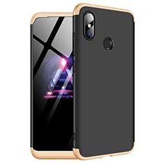 Handyhülle Hülle Kunststoff Schutzhülle Tasche Matt Vorder und Rückseite 360 Grad für Xiaomi Redmi Note 6 Pro Gold und Schwarz