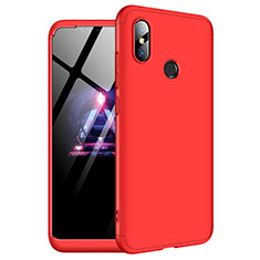 Handyhülle Hülle Kunststoff Schutzhülle Tasche Matt Vorder und Rückseite 360 Grad für Xiaomi Redmi Note 6 Pro Rot