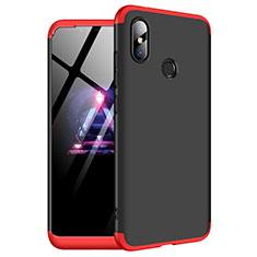 Handyhülle Hülle Kunststoff Schutzhülle Tasche Matt Vorder und Rückseite 360 Grad für Xiaomi Redmi Note 6 Pro Rot und Schwarz