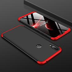 Handyhülle Hülle Kunststoff Schutzhülle Tasche Matt Vorder und Rückseite 360 Grad M01 für Huawei Y7 Pro (2019) Rot und Schwarz