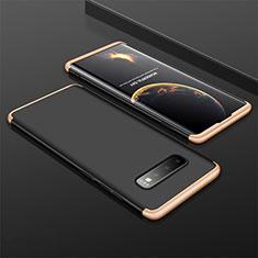 Handyhülle Hülle Kunststoff Schutzhülle Tasche Matt Vorder und Rückseite 360 Grad M01 für Samsung Galaxy S10 Plus Gold und Schwarz