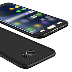 Handyhülle Hülle Kunststoff Schutzhülle Tasche Matt Vorder und Rückseite 360 Grad M01 für Samsung Galaxy S7 Edge G935F Schwarz