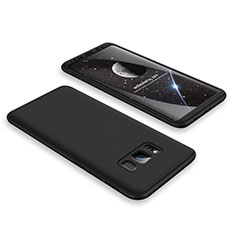 Handyhülle Hülle Kunststoff Schutzhülle Tasche Matt Vorder und Rückseite 360 Grad M01 für Samsung Galaxy S8 Schwarz