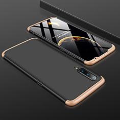 Handyhülle Hülle Kunststoff Schutzhülle Tasche Matt Vorder und Rückseite 360 Grad M01 für Xiaomi Mi A3 Lite Gold und Schwarz