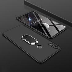 Handyhülle Hülle Kunststoff Schutzhülle Tasche Matt Vorder und Rückseite 360 Grad mit Fingerring Ständer für Huawei Enjoy 9 Plus Schwarz