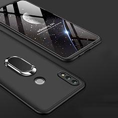 Handyhülle Hülle Kunststoff Schutzhülle Tasche Matt Vorder und Rückseite 360 Grad mit Fingerring Ständer für Huawei Honor 10 Lite Schwarz