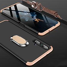 Handyhülle Hülle Kunststoff Schutzhülle Tasche Matt Vorder und Rückseite 360 Grad mit Fingerring Ständer für Huawei Honor 20 Gold und Schwarz