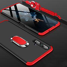 Handyhülle Hülle Kunststoff Schutzhülle Tasche Matt Vorder und Rückseite 360 Grad mit Fingerring Ständer für Huawei Honor 20 Rot und Schwarz