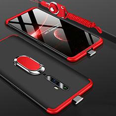 Handyhülle Hülle Kunststoff Schutzhülle Tasche Matt Vorder und Rückseite 360 Grad mit Fingerring Ständer für Oppo Reno2 Z Rot und Schwarz