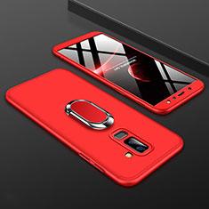 Handyhülle Hülle Kunststoff Schutzhülle Tasche Matt Vorder und Rückseite 360 Grad mit Fingerring Ständer für Samsung Galaxy A6 Plus (2018) Rot