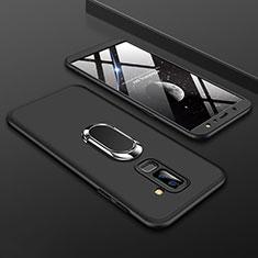 Handyhülle Hülle Kunststoff Schutzhülle Tasche Matt Vorder und Rückseite 360 Grad mit Fingerring Ständer für Samsung Galaxy A6 Plus (2018) Schwarz