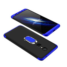 Handyhülle Hülle Kunststoff Schutzhülle Tasche Matt Vorder und Rückseite 360 Grad mit Fingerring Ständer für Xiaomi Redmi 5 Plus Blau