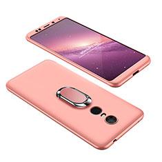 Handyhülle Hülle Kunststoff Schutzhülle Tasche Matt Vorder und Rückseite 360 Grad mit Fingerring Ständer für Xiaomi Redmi 5 Plus Rosegold