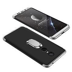 Handyhülle Hülle Kunststoff Schutzhülle Tasche Matt Vorder und Rückseite 360 Grad mit Fingerring Ständer für Xiaomi Redmi 5 Plus Silber