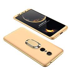 Handyhülle Hülle Kunststoff Schutzhülle Tasche Matt Vorder und Rückseite 360 Grad mit Fingerring Ständer für Xiaomi Redmi Note 5 Indian Version Gold
