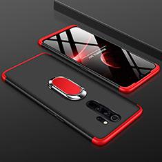 Handyhülle Hülle Kunststoff Schutzhülle Tasche Matt Vorder und Rückseite 360 Grad mit Fingerring Ständer für Xiaomi Redmi Note 8 Pro Rot und Schwarz