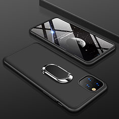 Handyhülle Hülle Kunststoff Schutzhülle Tasche Matt Vorder und Rückseite 360 Grad mit Fingerring Ständer R01 für Apple iPhone 11 Pro Schwarz