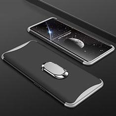 Handyhülle Hülle Kunststoff Schutzhülle Tasche Matt Vorder und Rückseite 360 Grad mit Fingerring Ständer S01 für Oppo Find X Silber