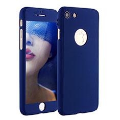 Handyhülle Hülle Kunststoff Schutzhülle Tasche Matt Vorder und Rückseite 360 Grad P01 für Apple iPhone 7 Blau