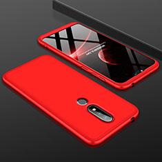 Handyhülle Hülle Kunststoff Schutzhülle Tasche Matt Vorder und Rückseite 360 Grad P01 für Nokia 6.1 Plus Rot
