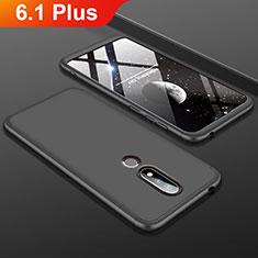 Handyhülle Hülle Kunststoff Schutzhülle Tasche Matt Vorder und Rückseite 360 Grad P01 für Nokia 6.1 Plus Schwarz