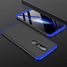 Handyhülle Hülle Kunststoff Schutzhülle Tasche Matt Vorder und Rückseite 360 Grad P01 für Nokia X6 Blau und Schwarz