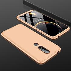 Handyhülle Hülle Kunststoff Schutzhülle Tasche Matt Vorder und Rückseite 360 Grad P01 für Nokia X6 Gold