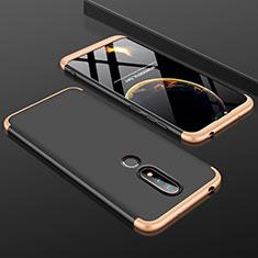 Handyhülle Hülle Kunststoff Schutzhülle Tasche Matt Vorder und Rückseite 360 Grad P01 für Nokia X6 Gold und Schwarz