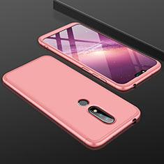Handyhülle Hülle Kunststoff Schutzhülle Tasche Matt Vorder und Rückseite 360 Grad P01 für Nokia X6 Rosegold