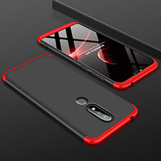 Handyhülle Hülle Kunststoff Schutzhülle Tasche Matt Vorder und Rückseite 360 Grad P01 für Nokia X6 Rot und Schwarz