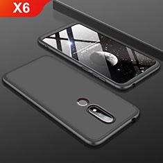 Handyhülle Hülle Kunststoff Schutzhülle Tasche Matt Vorder und Rückseite 360 Grad P01 für Nokia X6 Schwarz