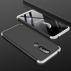 Handyhülle Hülle Kunststoff Schutzhülle Tasche Matt Vorder und Rückseite 360 Grad P01 für Nokia X6 Silber