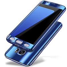 Handyhülle Hülle Kunststoff Schutzhülle Tasche Matt Vorder und Rückseite 360 Grad P01 für Samsung Galaxy S7 Edge G935F Blau