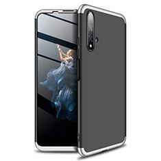 Handyhülle Hülle Kunststoff Schutzhülle Tasche Matt Vorder und Rückseite 360 Grad P02 für Huawei Honor 20 Silber