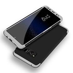 Handyhülle Hülle Kunststoff Schutzhülle Tasche Matt Vorder und Rückseite 360 Grad Q03 für Samsung Galaxy S8 Silber