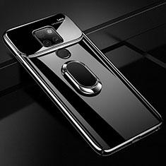 Handyhülle Hülle Kunststoff Schutzhülle Tasche Spiegel 360 Grad mit Magnetisch Fingerring Ständer für Huawei Mate 20 Schwarz