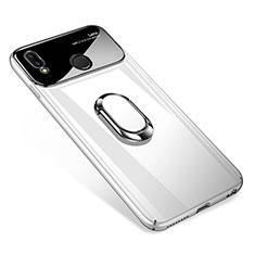 Handyhülle Hülle Kunststoff Schutzhülle Tasche Spiegel 360 Grad mit Magnetisch Fingerring Ständer für Huawei P Smart+ Plus Weiß