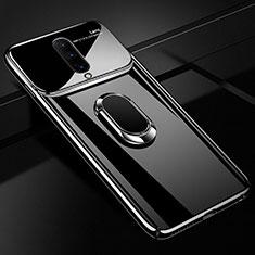 Handyhülle Hülle Kunststoff Schutzhülle Tasche Spiegel 360 Grad mit Magnetisch Fingerring Ständer für OnePlus 7 Pro Schwarz