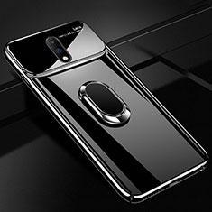 Handyhülle Hülle Kunststoff Schutzhülle Tasche Spiegel 360 Grad mit Magnetisch Fingerring Ständer für OnePlus 7 Schwarz