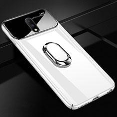 Handyhülle Hülle Kunststoff Schutzhülle Tasche Spiegel 360 Grad mit Magnetisch Fingerring Ständer für OnePlus 7 Weiß