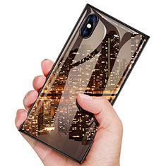 Handyhülle Hülle Kunststoff Schutzhülle Tasche Spiegel Matt Vorder und Rückseite 360 Grad für Apple iPhone Xs Max Schwarz